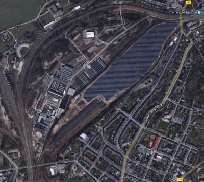 Rangierbahnhof Chemnitz-Hilbersdorf 2015 bei Google-Maps